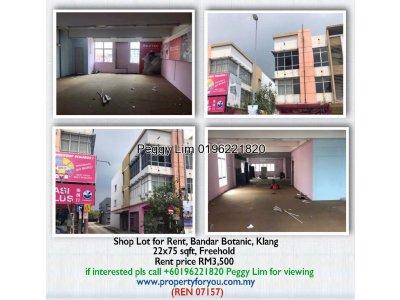 Shop Lot for Rent, Bandar Botanic, Klang
