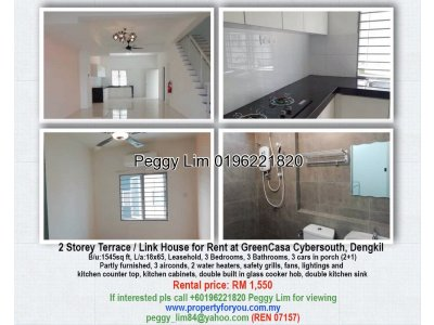2 Storey Terrace / Link House for Rent at GreenCasa Cybersouth, Dengkil