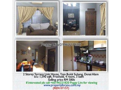 2 Storey Terrace Link House for Sale, Tmn Bukit Subang, Denai Alam