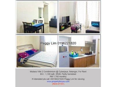 Mutiara Ville 2 Condominium @ Cyberjaya, 1100sqft [FOR SALE]