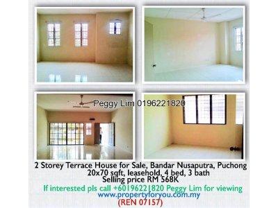 2 Storey Terrace House for Sale, Bandar Nusaputra, Puchong