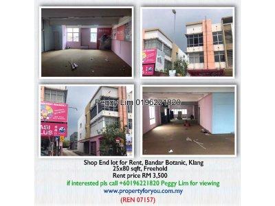 Shop End Lot for Rent, Bandar Botanic, Klang
