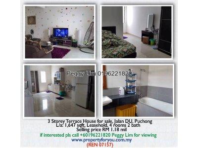 3 Storey Terrace House for Sale, Jalan DU, Puchong