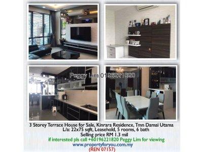 3 Storey Terrace House for Sale, Kinrara Residence, Taman Damai Utama