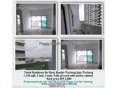 Twinz Residences for Rent, Bandar Puchong Jaya, Selangor