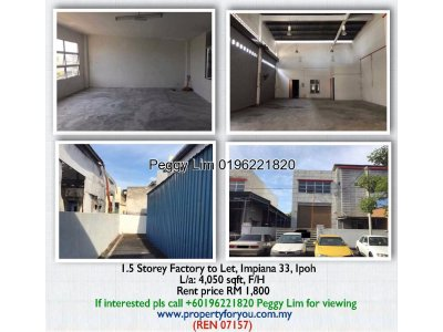 1.5 Storey Factory to Let, Impiana 33, Ipoh