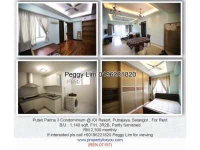 Puteri Palma 3 Condominium, Putrajaya, 1410sq ft, 3 rooms 3 bathrooms, move in condition